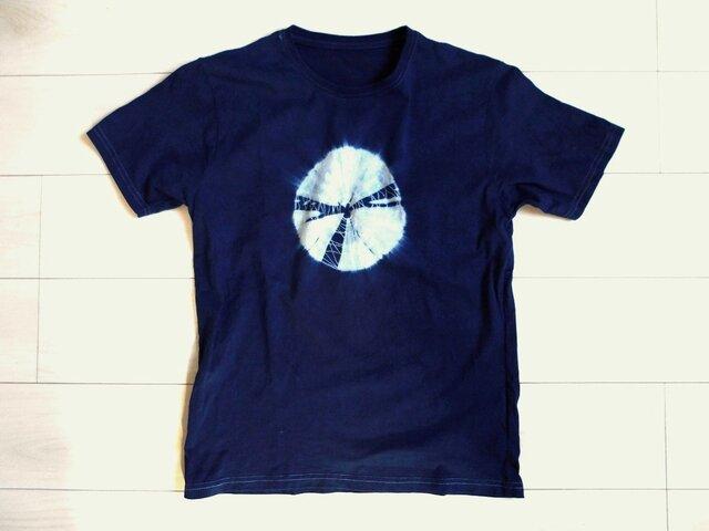 ◆100%自然素材 天然灰汁発酵建て 本藍染め製品◆ オーガニックコットンTシャツ(Mサイズ)の画像1枚目