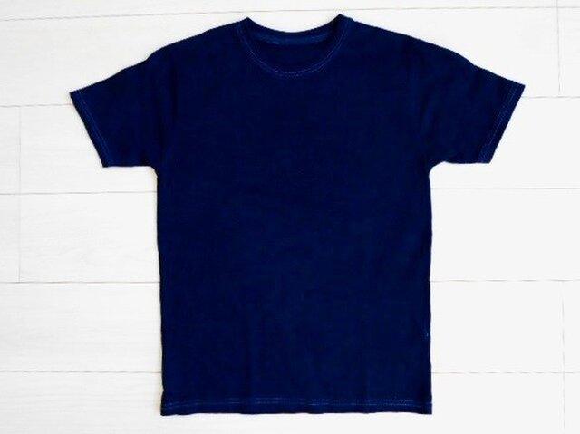◆100%自然素材 天然灰汁発酵建て 本藍染◆ オーガニックコットンTシャツ (LLサイズ)の画像1枚目