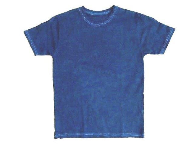 ◆100%自然素材 天然灰汁発酵建て 本藍染◆ オーガニックコットンTシャツ (XLサイズ)の画像1枚目