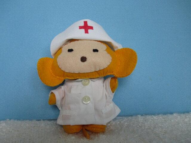 おさるさん看護婦さん フェルト マスコット  ぬいぐるみの画像1枚目