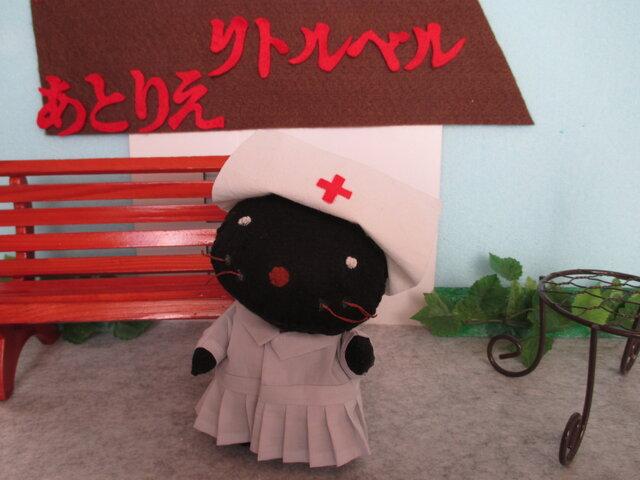 黒ネコの看護婦さん フェルト  ぬいぐるみ,着せ替えセーター メガネ付きの画像1枚目