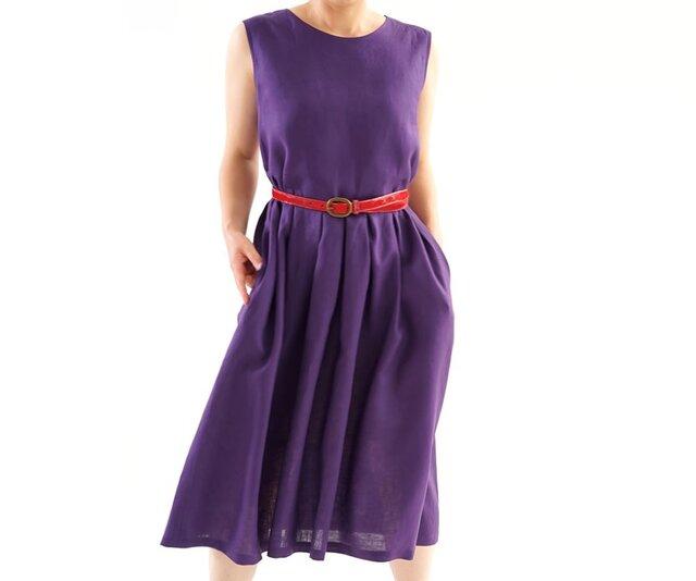 【wafu】<1着限定価格>薄地 リネン ワンピース タック ノースリーブ ドレス / オーベルジーヌ a13-54の画像1枚目
