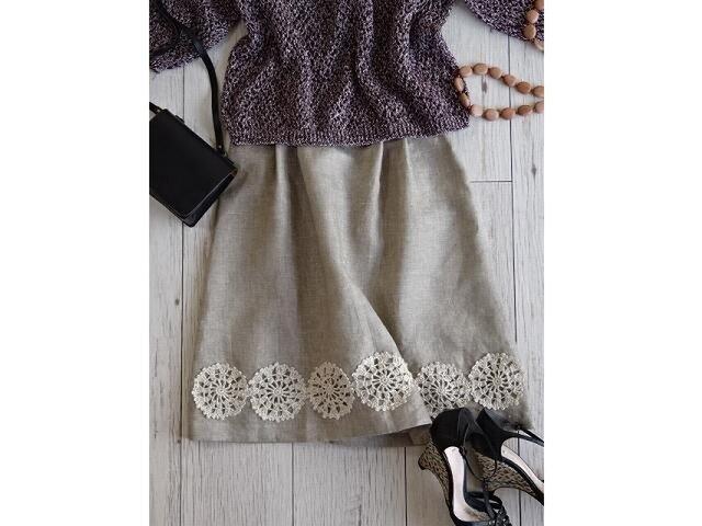 レース編みと北欧リネンのスカート・メランジベージュの画像1枚目