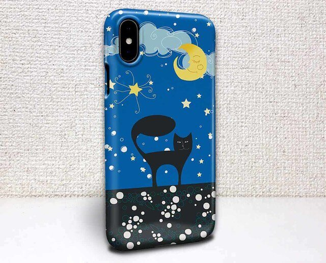 iphone ハードケース iPhoneX iphone8 iphone8 plus iphone7 猫 三日月と黒猫の画像1枚目