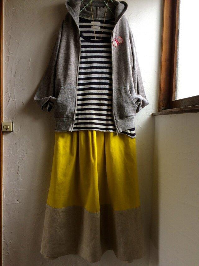 ゆらゆらギャザースカート ミモザイエロー×リネン の画像1枚目