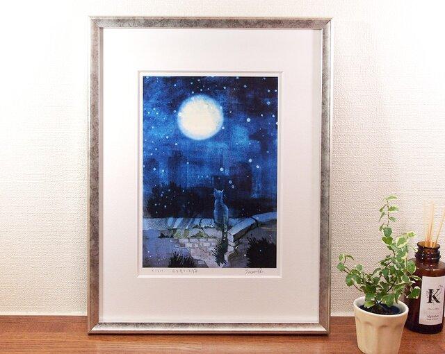 『月を見ている猫』ジークレー画 額装品の画像1枚目