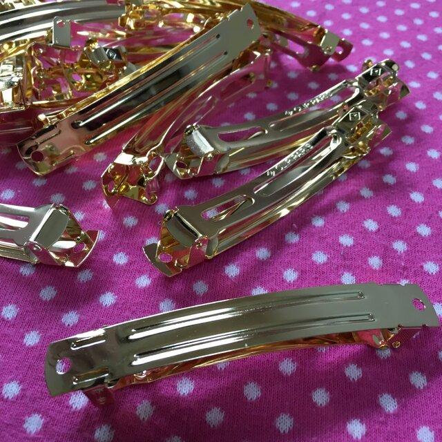 ゴールドバレッタパーツ金具8cm5個の画像1枚目