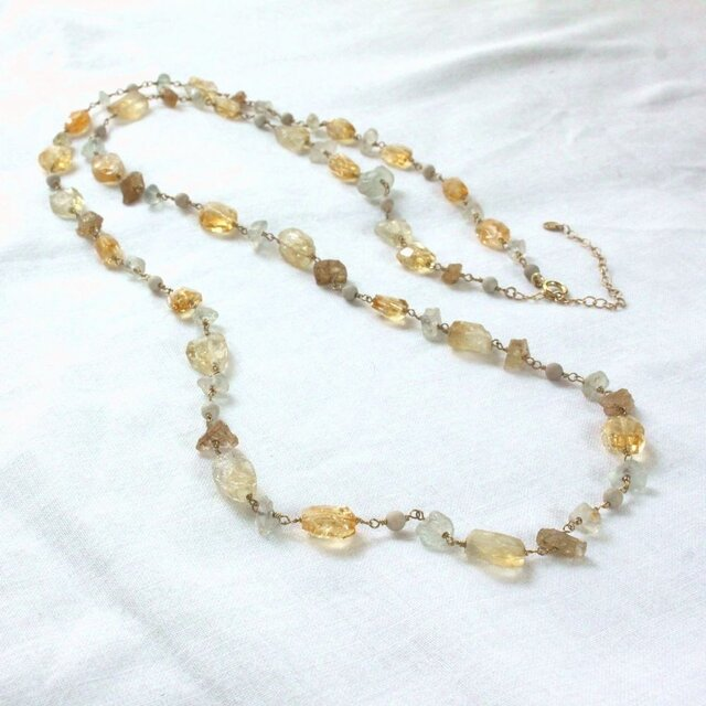 Citrine & Topaz Long Necklaceの画像1枚目