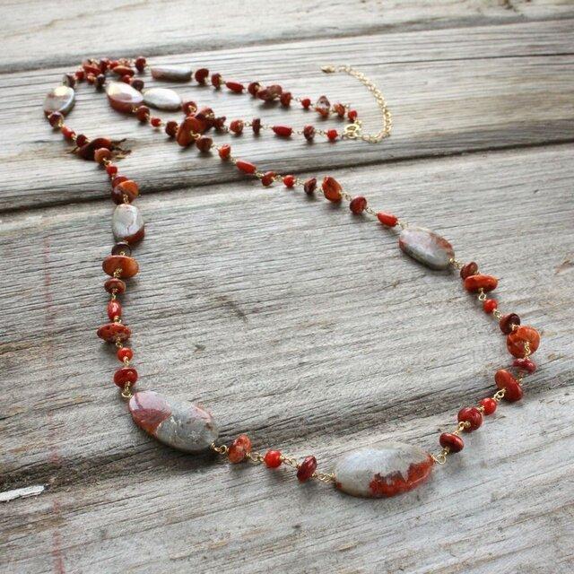 Ocean Red Gems Long Necklace あかのかいじゅねっくれすの画像1枚目