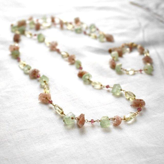 桜とレモンのネックレス&ブレスレットの画像1枚目