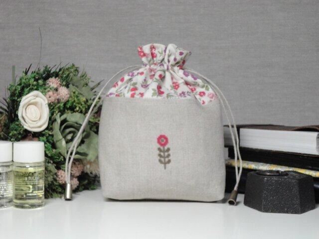 巾着 東欧花c ローズピンクの画像1枚目