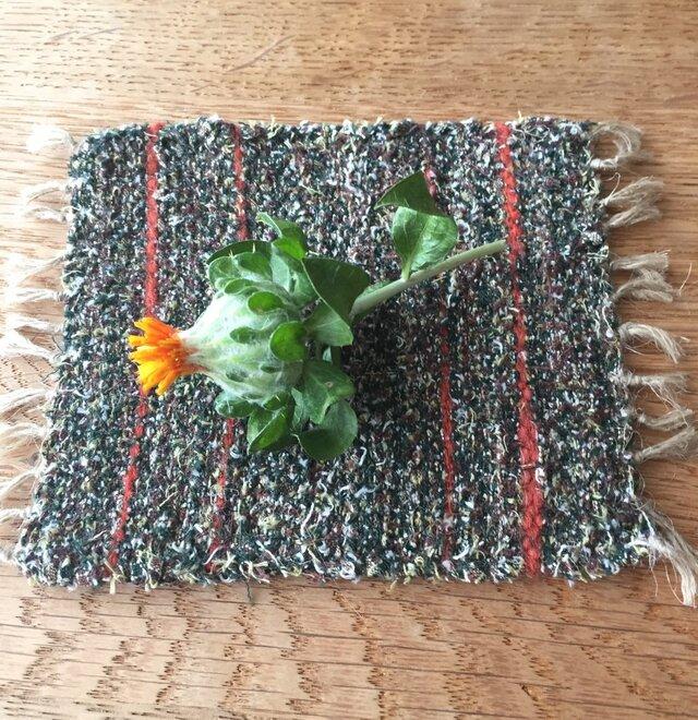 kazenoneko【風の猫】の裂織手織りコースター(残1色)の画像1枚目
