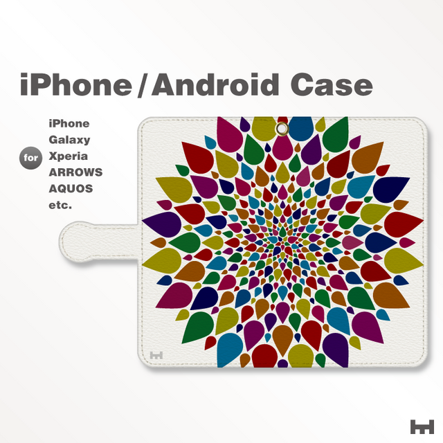 iPhone7/7Plus/Android全機種対応 スマホケース 手帳型 北欧-春-花-フラワー シック 38_03の画像1枚目