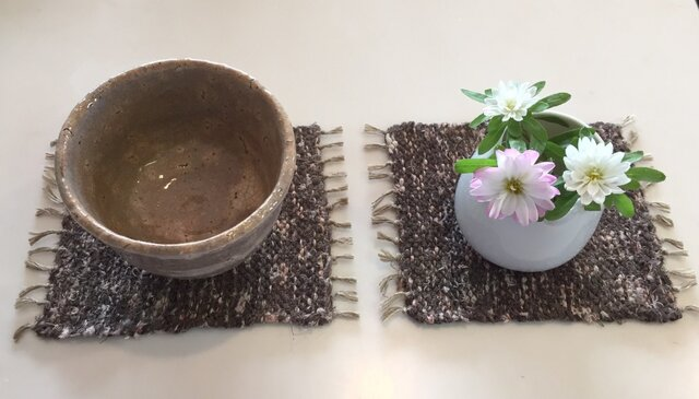 kazenoneko【風の猫】の裂織手織りコースターの画像1枚目