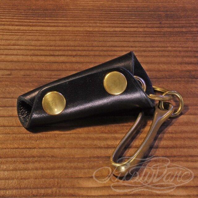 レザーキーケース -高級イタリアンレザー ブラックの画像1枚目