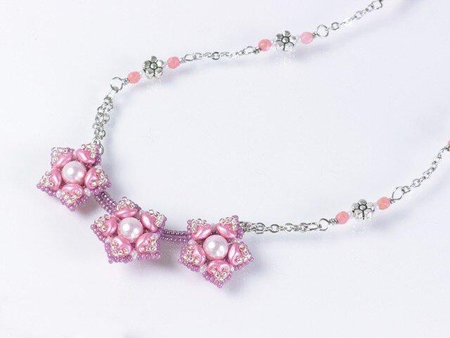 星型の花モチーフネックレス・ピンクの画像1枚目