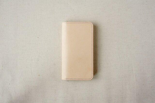 牛革 iPhone SE/5/5sカバー  ヌメ革  レザーケース  手帳型  ナチュラルカラーの画像1枚目