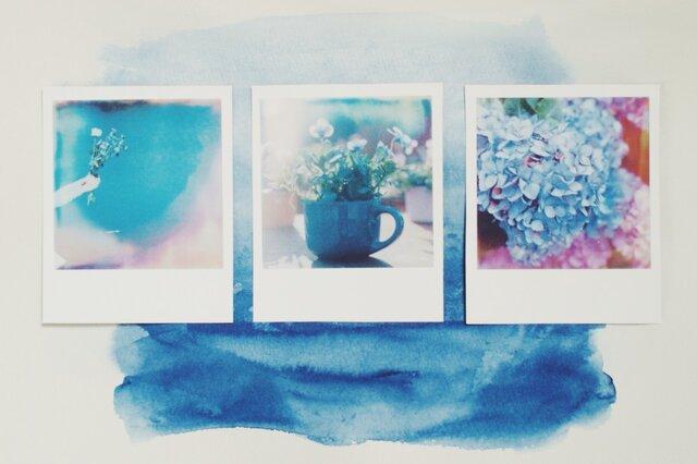 青の風景 ポラロイド風マグネットの画像1枚目