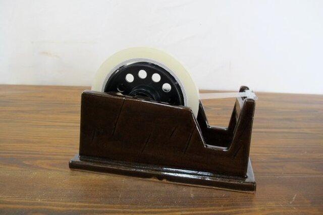 陶器製 テープディスペンサー(飴釉)の画像1枚目