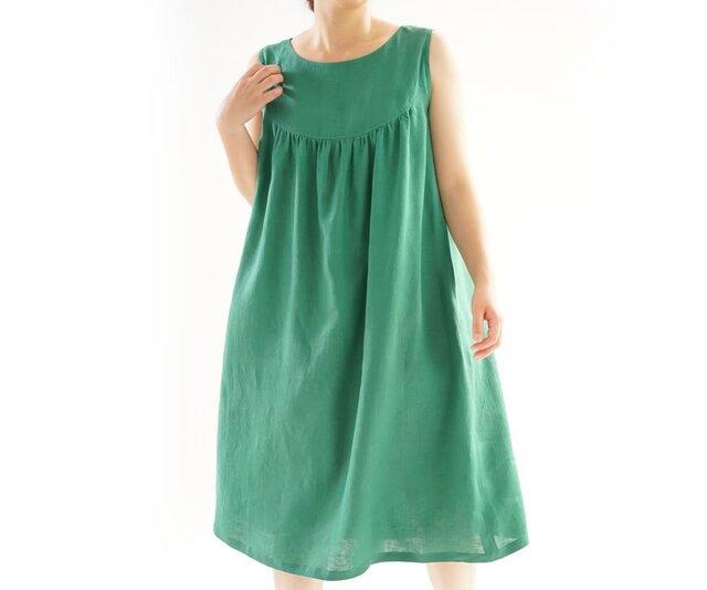 雅亜麻リネン ラウンドヨーク ノースリーブワンピース/常盤緑(ときわみどり) a33-6の画像1枚目