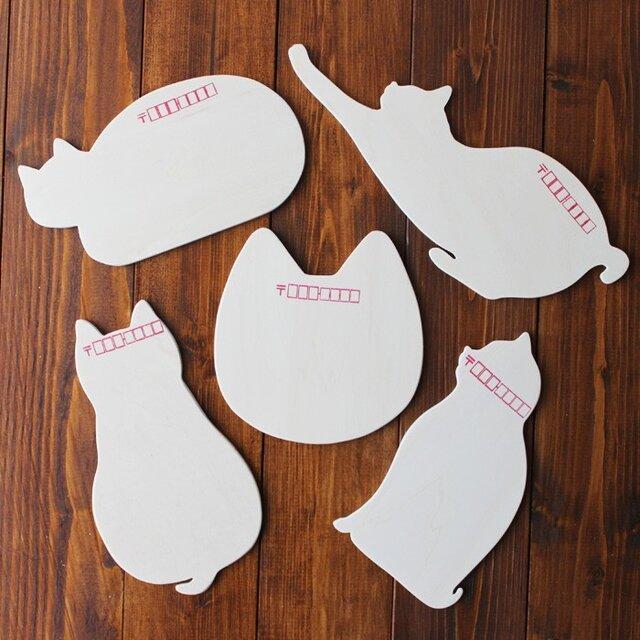 木製 猫はがき(5種類セット)13.CATS.WORKSオリジナルの画像1枚目