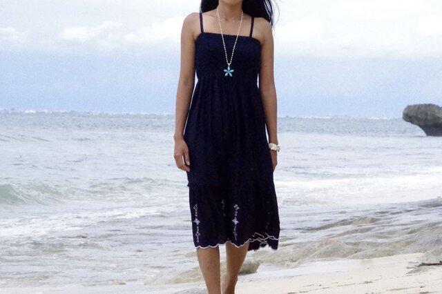 花刺繍ドレス<ネイビー>の画像1枚目