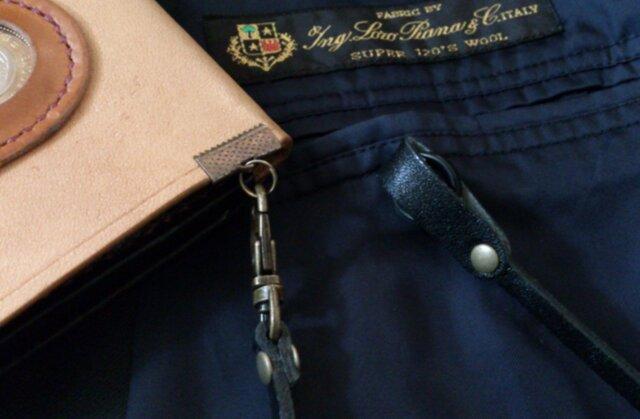 スーツ用ウォレットコード 取付け金具付 定期紐 財布紐 ブラックの画像1枚目