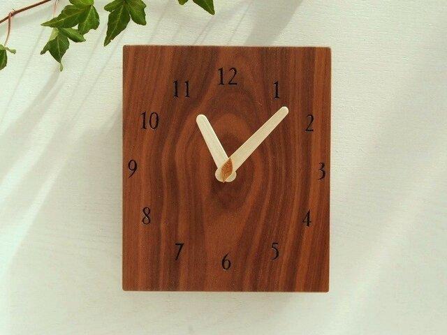 17cmX20cm 掛け時計 ウォールナット【1618】の画像1枚目