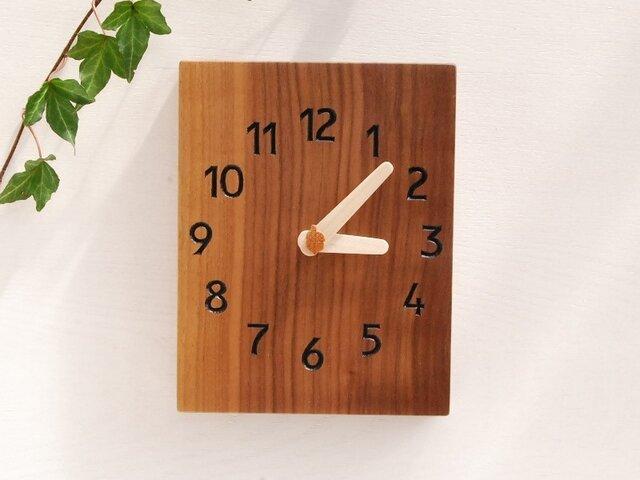 15.5cmX20cm 掛け時計 ウォールナット【1619】の画像1枚目