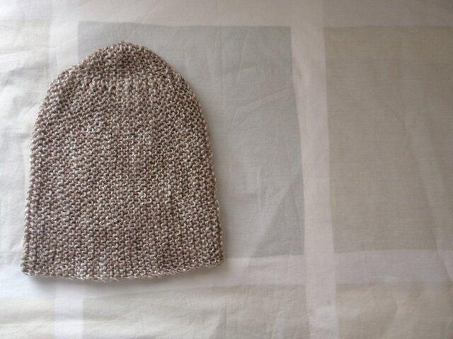 1点物 リネンアクリル 手編みニットキャップ カプチーノブラウンの画像1枚目