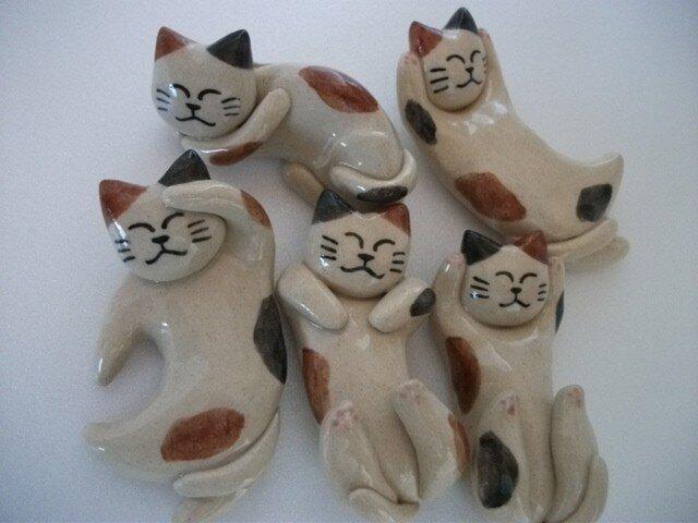 猫の箸置き5個セット(三毛ミックス)の画像1枚目