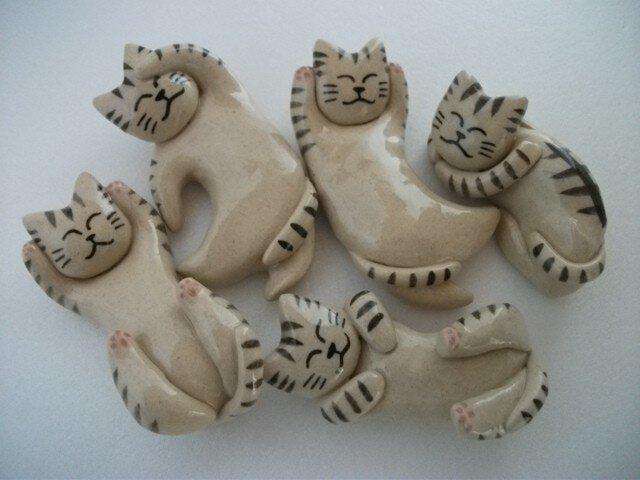 猫の箸置き5個セット(サバトラミックス)の画像1枚目