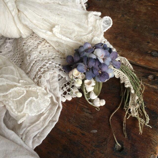 布花コサージュ すずらんとすみれの花束の画像1枚目