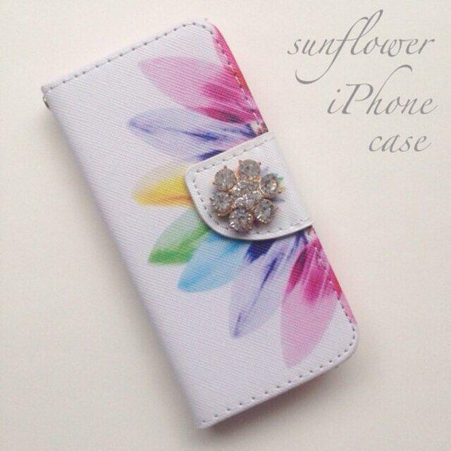 sunflower♡iPhone5,5s iPhone6,6sケース♡ビジュー付き♡の画像1枚目