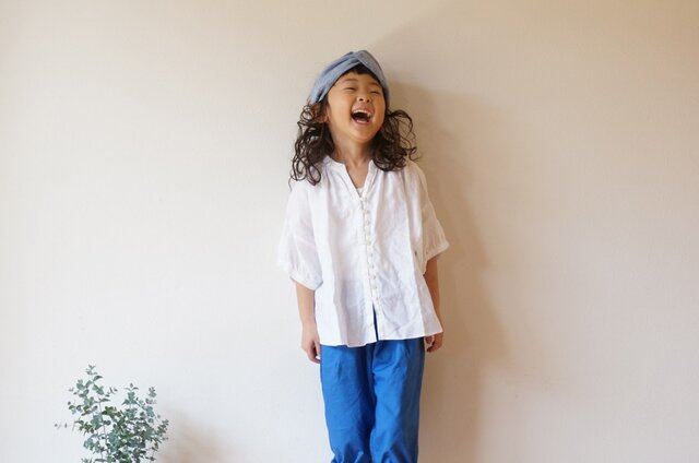 French Linen blouse kids 90,100sizeの画像1枚目
