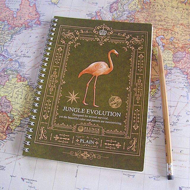 ジャングルノートブック(本文・無地/フラミンゴ)A5サイズの画像1枚目