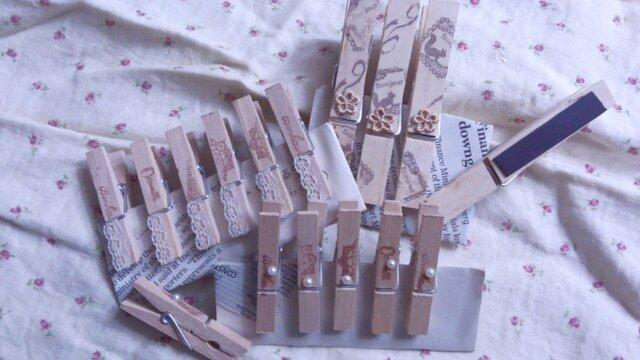 木製コラージュクリップ(ナチュラルアンティーク)  セットの画像1枚目