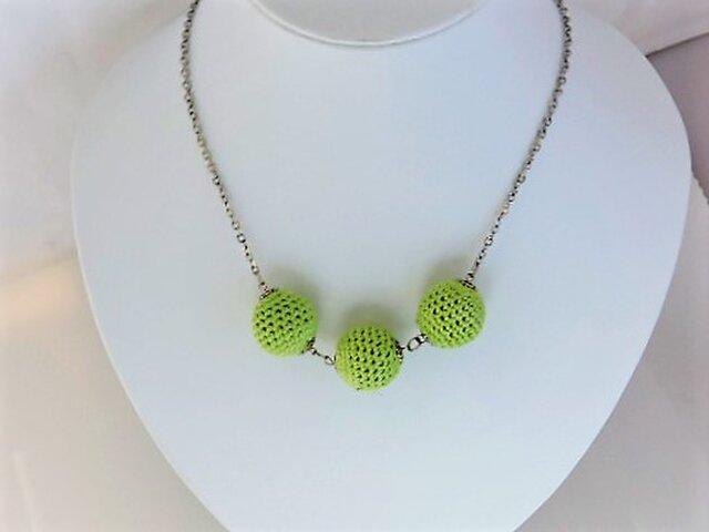 新緑のニットボールのシンプルネックレス・銀♪の画像1枚目