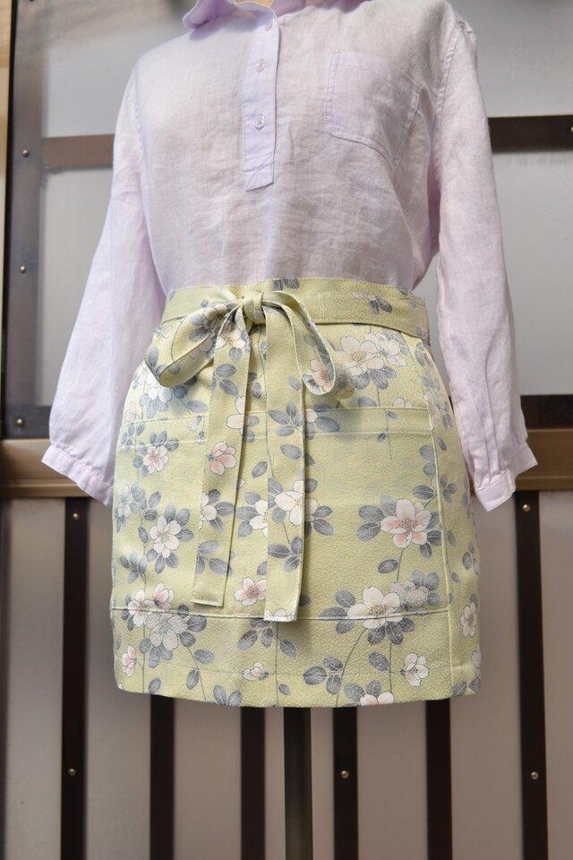 着物リメイク 桜々エプロン J-6の画像1枚目