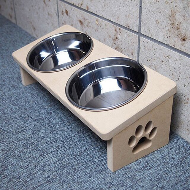 猫用 食器台 W 肉球デザインの画像1枚目