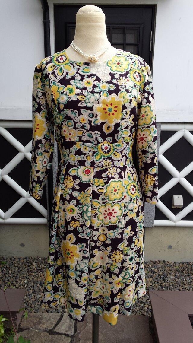 着物リメイク 古布 かわいい花柄 エレガント ワンピースの画像1枚目