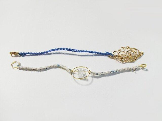 (再販)2色の鎖編み糸のブレスレット 2の画像1枚目