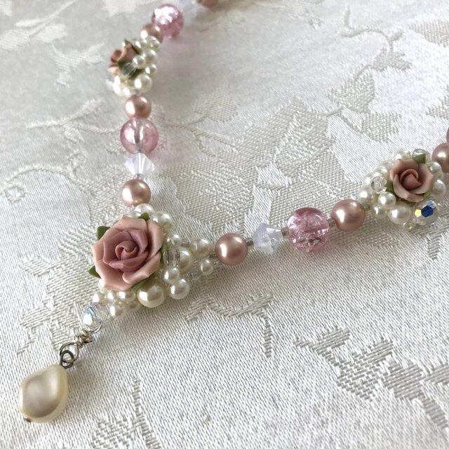 ローズネックレス ピンクの画像1枚目