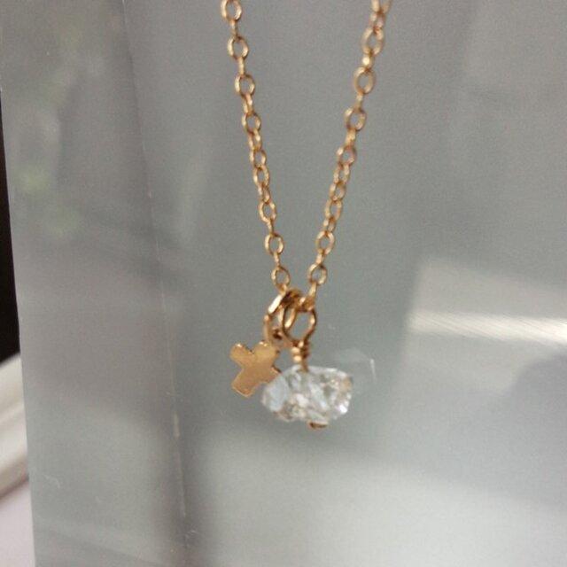 14kgfネックレス♡1粒ハーキマーダイアモンド&クロスチャームの画像1枚目