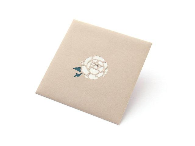 【切り絵のぽち袋】 白牡丹(大サイズ) 2枚セットの画像1枚目