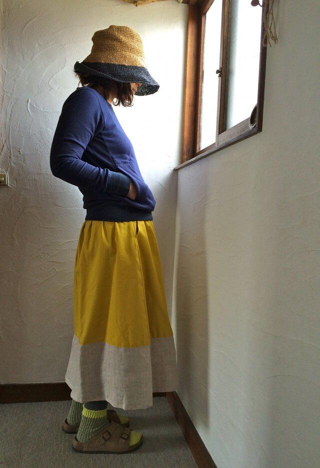 ゆらゆらギャザースカート ミモザ×リネン  春の装いの画像1枚目