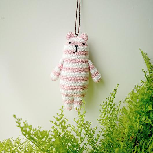 amigurumi * クーマmini(ピンク×白)の画像1枚目