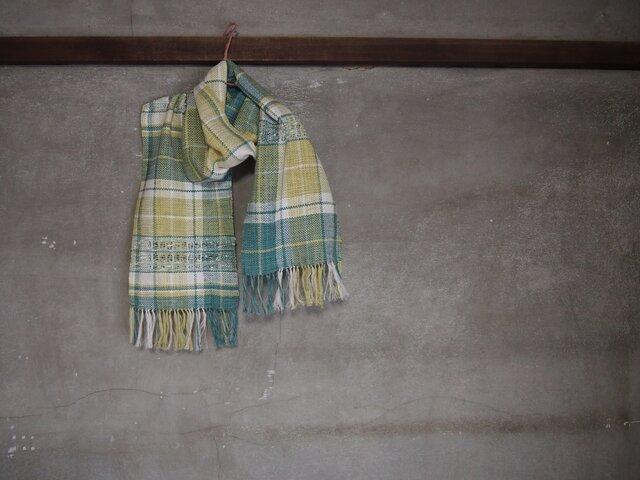 手織り/cotton muffler  3織チェックデ透かし (+orimi)の画像1枚目