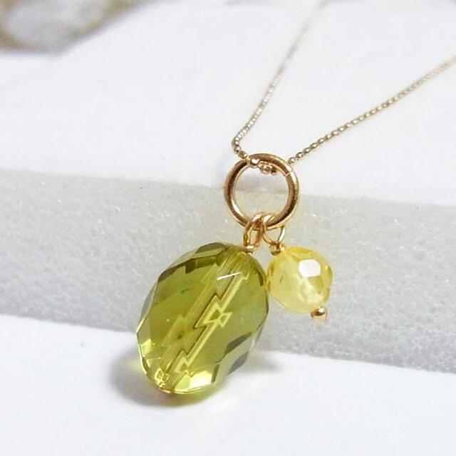 18金 グリーンアンバー(琥珀) ネックレスの画像1枚目