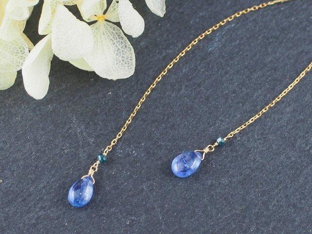 K18 タンザナイト・ナチュラルダイヤモンドのアメリカンピアスの画像1枚目